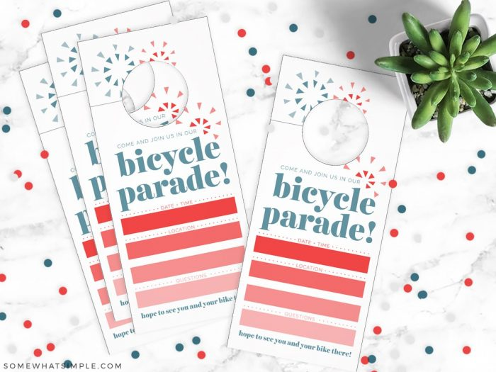 4th of July Bike Parade Invitations on a white counter