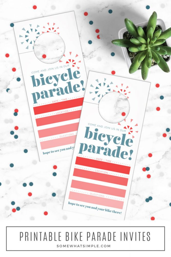 long image of printed bike parade invitations on white