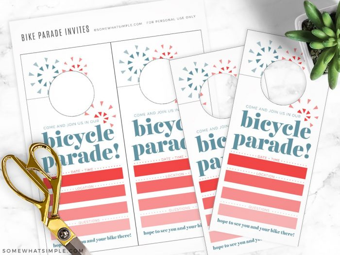 making invitations for a bike parade