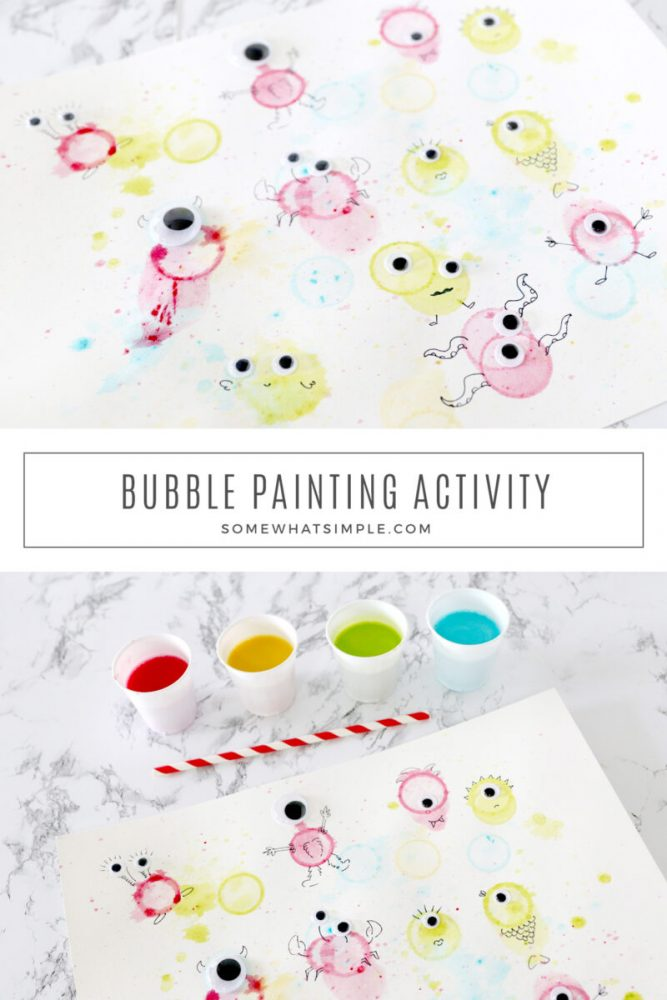 collage of bubble painting activites