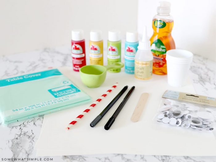 supplies needed to make bubble painting
