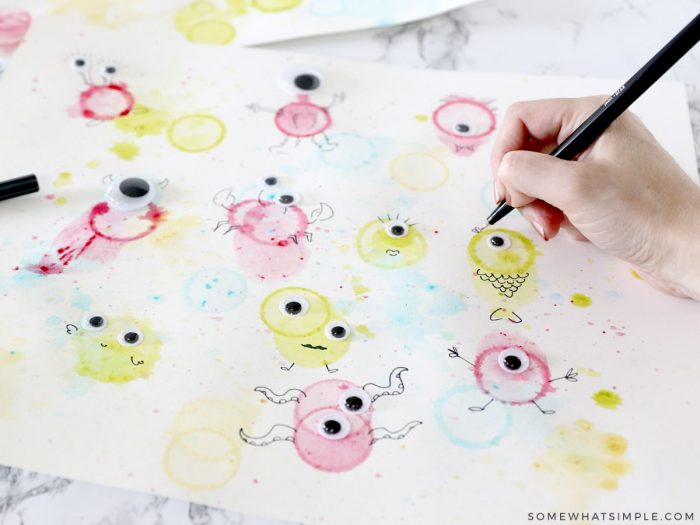 drawing monsters from bubble painting
