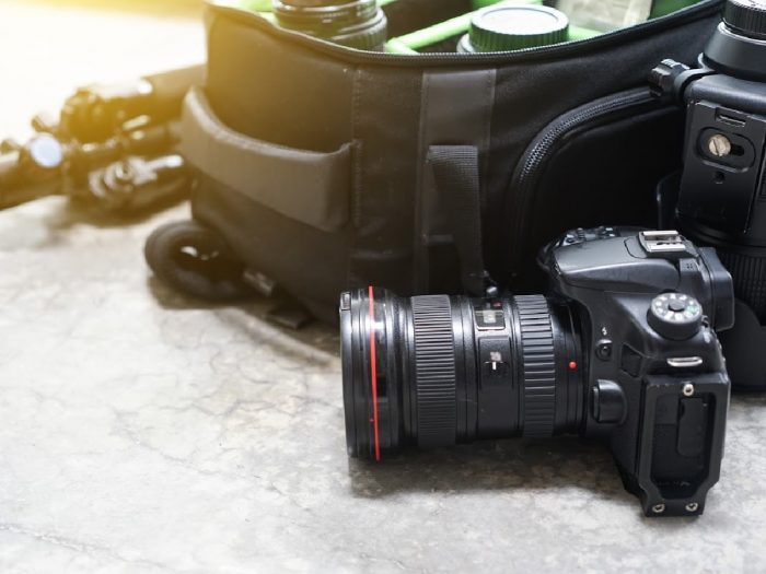 camera bag with lenses
