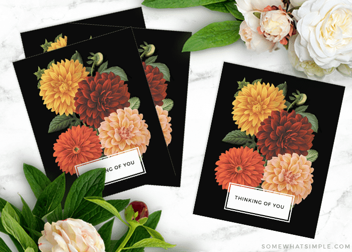 printable thinking of you cards in black with flowers