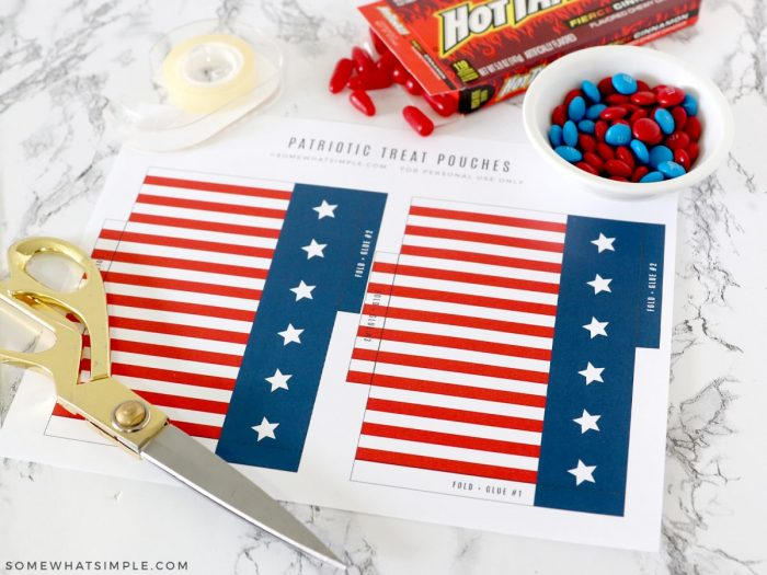 materials needed to make a 4th of july candy gift
