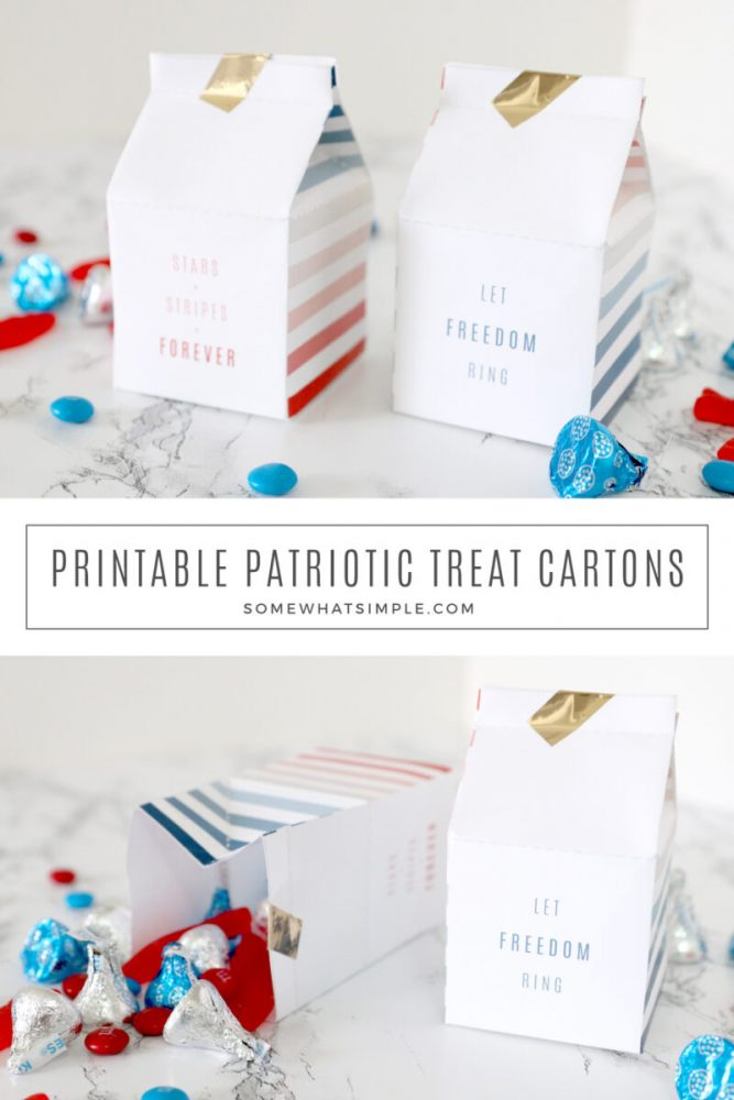 collage of images showing how to make 4th of july treat boxes