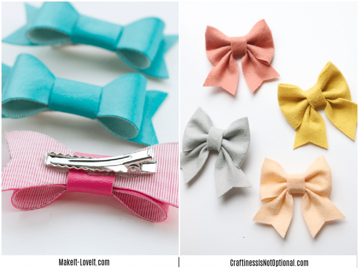 collage of images showing how to make hair bows
