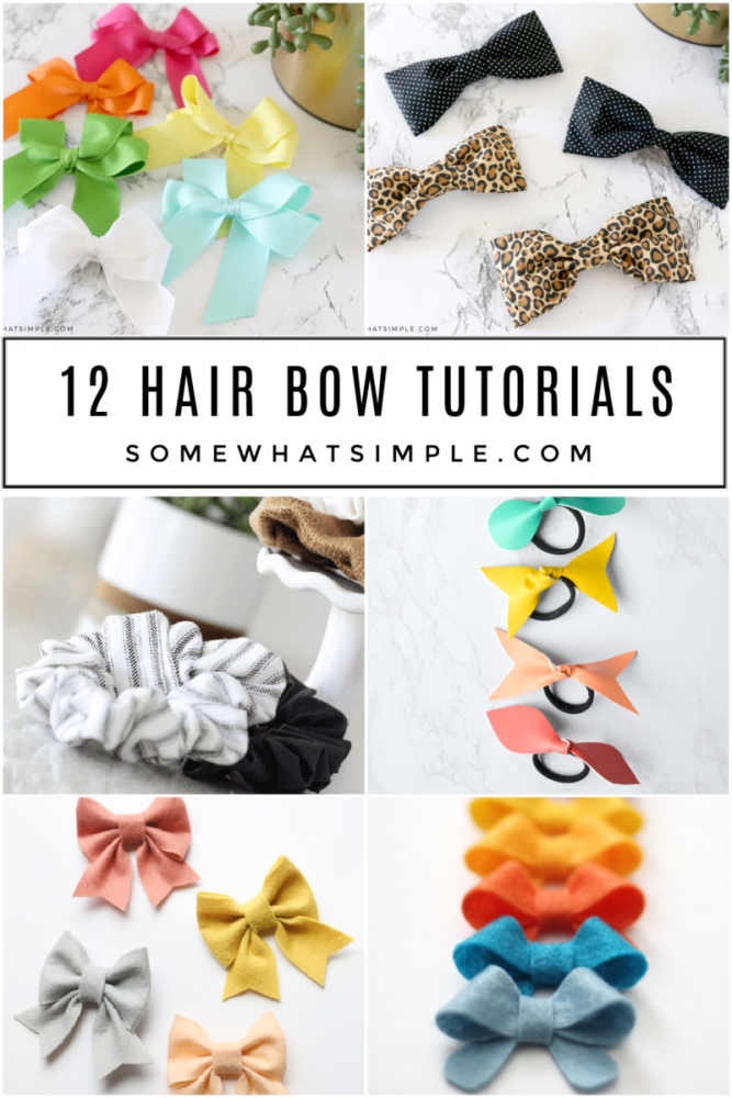 collage of 6 hair bow tutorials