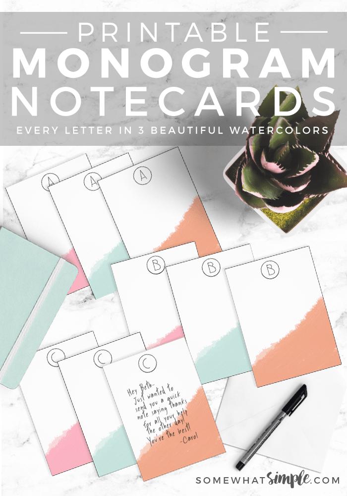 monogram note card