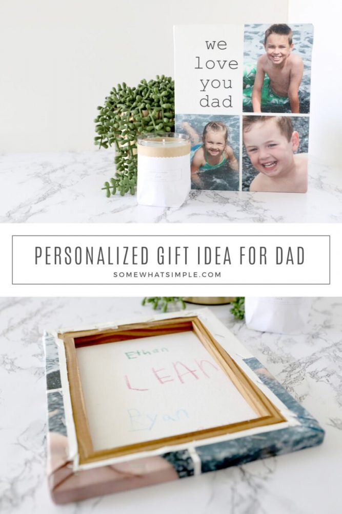 collage of images featuring a personalized gift for dad