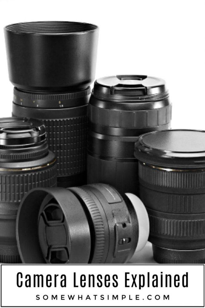 Camera lenses explained - black lenses on a white background