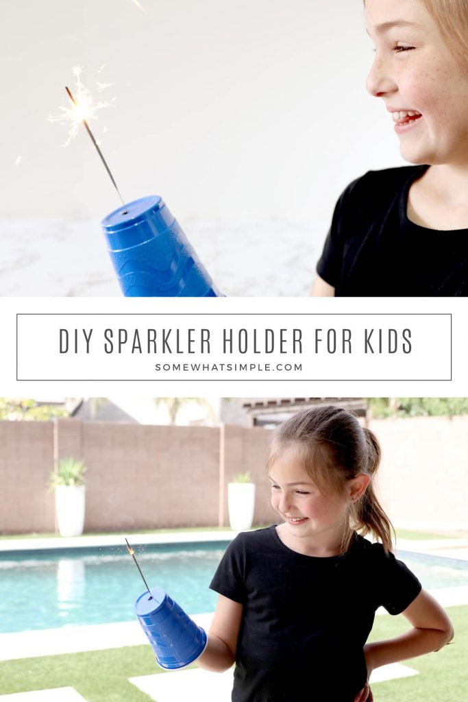 collage of sparkler safety cups for kids
