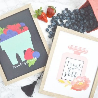 treat yo self printables with a basket of berries