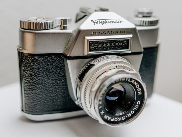 vintage camera on a gray background