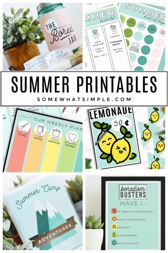 collage of summer printables