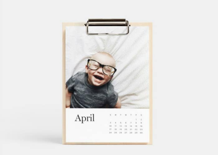 personalized photo gift calendar on a clipboard