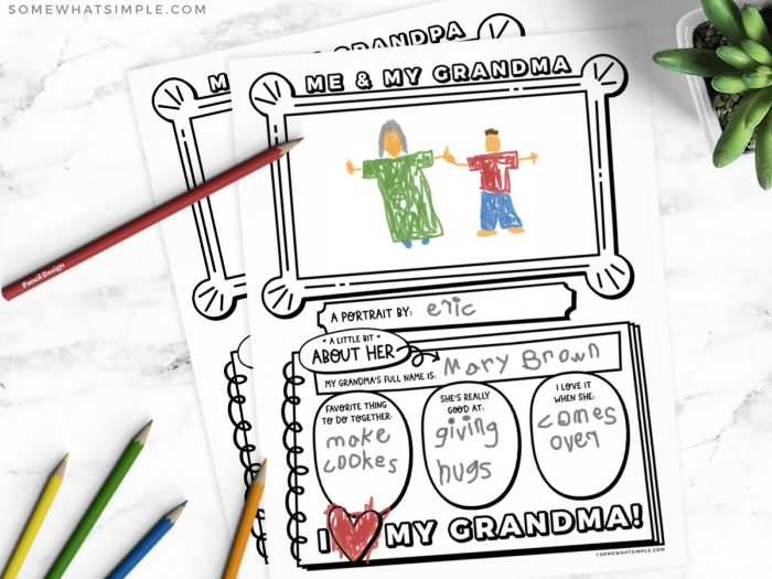 printable grandparents day gift with worksheet for kids to fill out
