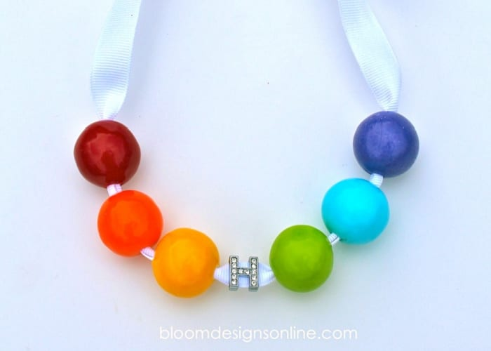 lucky charm necklace with rainbow beads