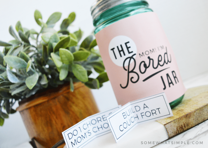 mom I'm bored jar printable kit for kids labels activities summer boredom buster