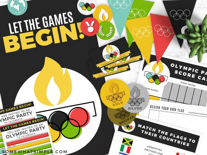 olympic themed party printables laid out