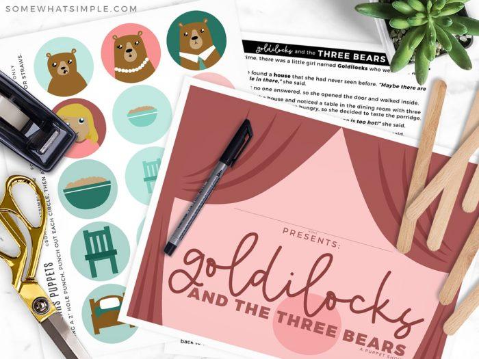 goldilocks and the three bears printable