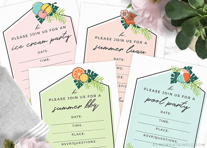 summer party invitations for different events like a bbq, ice cream party and pool party