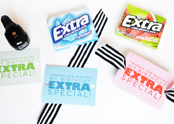extra gum with printable party favor attached to it