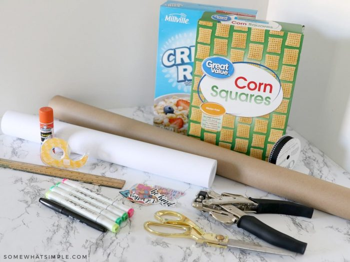 supplies needed to make a cereal box purse