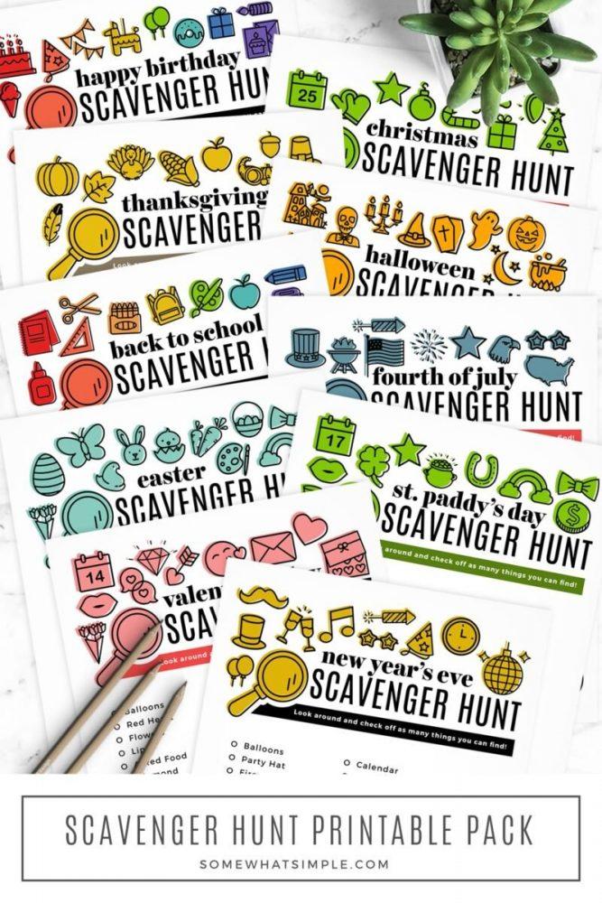 long image of scavenger hunt printables